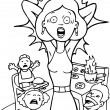 Stressed Mom at Home - black and white - Stock Vector