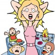 Stressed Mom at Home - Stock Vector