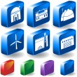 set of 3d building icons — Stock Vector