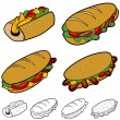 Cartoon Sandwich Set — Stock Vector