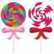 Lollipop Candy with Ribbons — Stock Vector