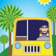 Stock Vector: Sunshine Bus Driver Route