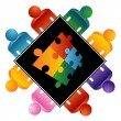 Royalty-Free Stock Vector Image: Puzzle Solving Team