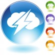Thunder Cloud Crystal Icon — Stock Vector