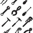 Tools Icons - black and white — Stock Vector