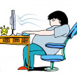 Too much computer - Stock Vector