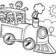 Child Train Ride - black and white — Stock Vector