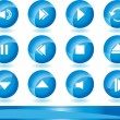 Multimedia Buttons - Blue — Stock Vector #3993933