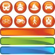 Stock Vector: Transportation Buttons - Round