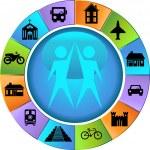 Travel Destination Buttons - Wheel — Stock Vector