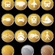 Transportation Buttons - Gold Round — Stock Vector