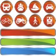 Transportation Buttons - Red Round — Stock Vector
