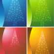 Holiday Tree Background Set — Vector de stock #3999886