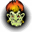Flaming haired troll — Stockvector