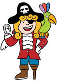 Friendly Pirate with Parrot — Stock Vector