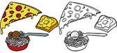 Pasta Pizza Garlic Bread Set — Stock Vector