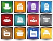 Printer Icons — Vetor de Stock