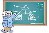 Chalkboard with Professor — Stock Vector