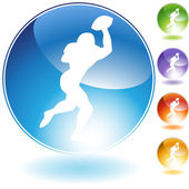 Quarterback Football Crystal Icon — Stock Vector