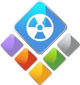 Radiation Square Icon — Stock Vector