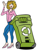 Recycling Bin Woman — Stock Vector
