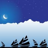 Night Sky Scene - Boats — Stock Vector