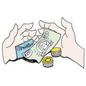 Cash in Hands — Stock Vector