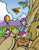 Kids rock climbing — Stock Vector