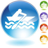 Rowboat Crystal Icon — Stock Vector