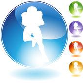 Running Football Crystal Icon — Stock Vector