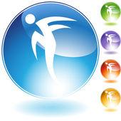 Rush Step Dancer Crystal Icon — Stock Vector