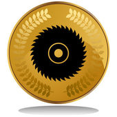 Gold Coin - Saw Blade — Stock Vector