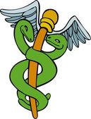 Caduceus Medical Symbol - Cartoon — Stock Vector
