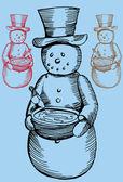 Snowman Birdbath — Stock Vector