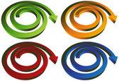 Isometric Spiral Arrow - Set of 4 — Stock Vector