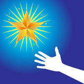 Hand Reaches for Star — Stock Vector