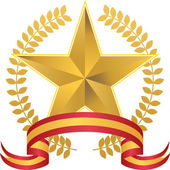 Gold Star with Wreath — Stock Vector