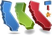 California 3D — Stock Vector