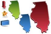 Illinois 3d — Stok Vektör