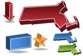 Massachusetts 3D — Stock Vector