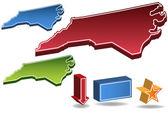 Carolina del norte 3d — Vector de stock