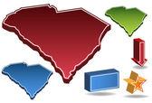 Carolina del sur 3d — Vector de stock
