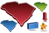 South Carolina 3D — Vector de stock
