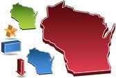 Wisconsin 3D — Stock Vector
