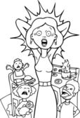 Stressed Mom at Home - black and white — Cтоковый вектор