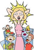 Stressé maman à la maison — Vecteur