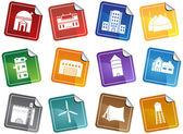 Building Structure Set - Sticker — Stock Vector
