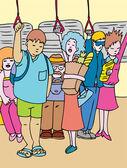 Toplu ulaşım binici — Stok Vektör