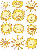 Suns - Cartoon — Stock Vector