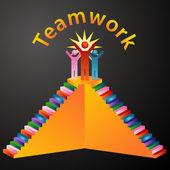 Teamwork Stairs — Stock Vector